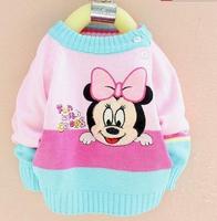 Free Shipping  Girl Cartoon Minnie sweater Kids Cute pullovers Children fashion knitwear Autumn long sleeves outerwear