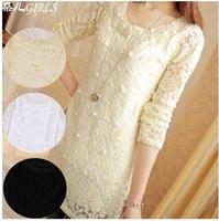 2014 female autumn long-sleeve T-shirt plus size o-neck long design pearl lace basic shirt