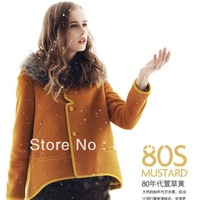 Short Overcoat Woolen Autumn Winter Coat Imitation Cashmere Coat PC67 Color Yellow