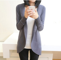 Free shipping 2014 Female Korean version Classic Winter shawl sweater knitted coat long section loose cardigan Outwear For women