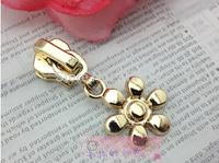 5# Gold zipper pull quality slider flower design metal long puller zipper head zinc alloy zipper diy accessories