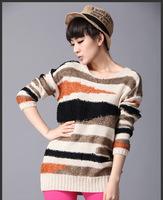 Autumn winter women pullover sweater women's long design o-neck outerwear sweater loose sweater plaid stripe O-neck pullover