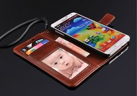 Luxury Crazy Horse Leather Case For Samsung Galaxy Note 3 N9000 Wallet Book With Card Holder Stand Design Free Shipping