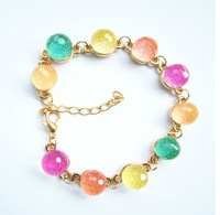 Fashion Chain Link Bracelets Bangles For Women With Colorful Crystal Beads Wholesale Free Shipping