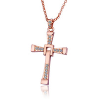 Men Jewelry High Quality 18K Rose Gold Plated Fast and Furious Jesus Cross Pendant Necklace Jewelry for Men 18KGP N704