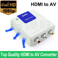 Top Quality HDMI to AV converter adapter box with HDMI cable & power cable in retail package, Free Shipping
