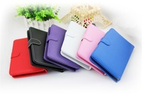 Tablet PC cover with keyboard 7 inch colorful case red pink purple black white wholesale 100pcs