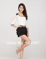 Freeshipping!  Wholesale S-3XL Summer chiffon skirt short-sleeved dress  top women's blouse A853