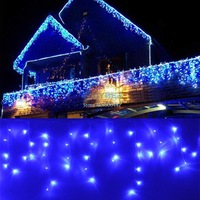 96 LED Curtain Fairy Lights Christmas Garden Lamps Xmas Wedding Party Decorations Lights With Tail Plug Blue TK1101