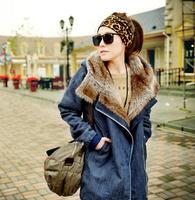 2013 Winter Women'S Wool Liner Plus Size Thickening Medium-Long Denim Fur Hooded Parka Jacket Oversize Coat Outerwear