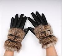 new 2013 Rabbit fur hasp fur fashion short design women's sheepskin genuine leather gloves winter thickening gloves