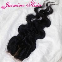 Middle Part Silk Base Closure bleached knots,100% virgin malaysian hair,4x4'' silk lace closure natural color body wave 5A hair