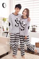 New arrival couples nightwear cotton knitted panda grey stripe pyjamas sleepwear female male long-sleeve lounge set 51093
