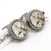 Free shipping! Steampunk Black Round and Silver Dot Movement Watch Cufflinks NM0945