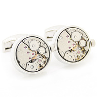 Free shipping! Steampunk  Gold Round and Silver Movement Watch Cufflinks NM0928