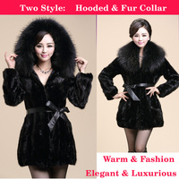 Winter Luxury Faux Fight Mink Rabbite hair Fur Coat Outerwear Medium-long Slim Women's Overcoat Large Raccoon Fur Collar S-4XL