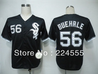 Free Shipp Wholesale Men's Baseball Jerseys Cheap Chicago White Sox #56 Mark Buehrle White Black Jerseys,Embroidery Logos