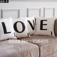 "NEW 45cm*45cm 4PCS/LOT Black & White Embroidery ""LOVE"" Canvas Wedding Gift Pillow Case"