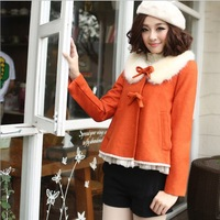 2013 winter new Korean version of sweet fur collar wool woolen coat short coat