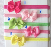 40pcs Baby Elastic Headbands Bowknot Headwear Girl Grosgrain Ribbon Bows Headbands Hair Accessories Boutique Hair Ornaments