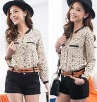 9805 vintage fashion leopard print V-neck print loose plus size chiffon long-sleeve shirt female