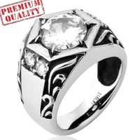 Vintage Mens Ring Titanium Steel Stainless Steel Solitaire Cubic Zirconia Ring