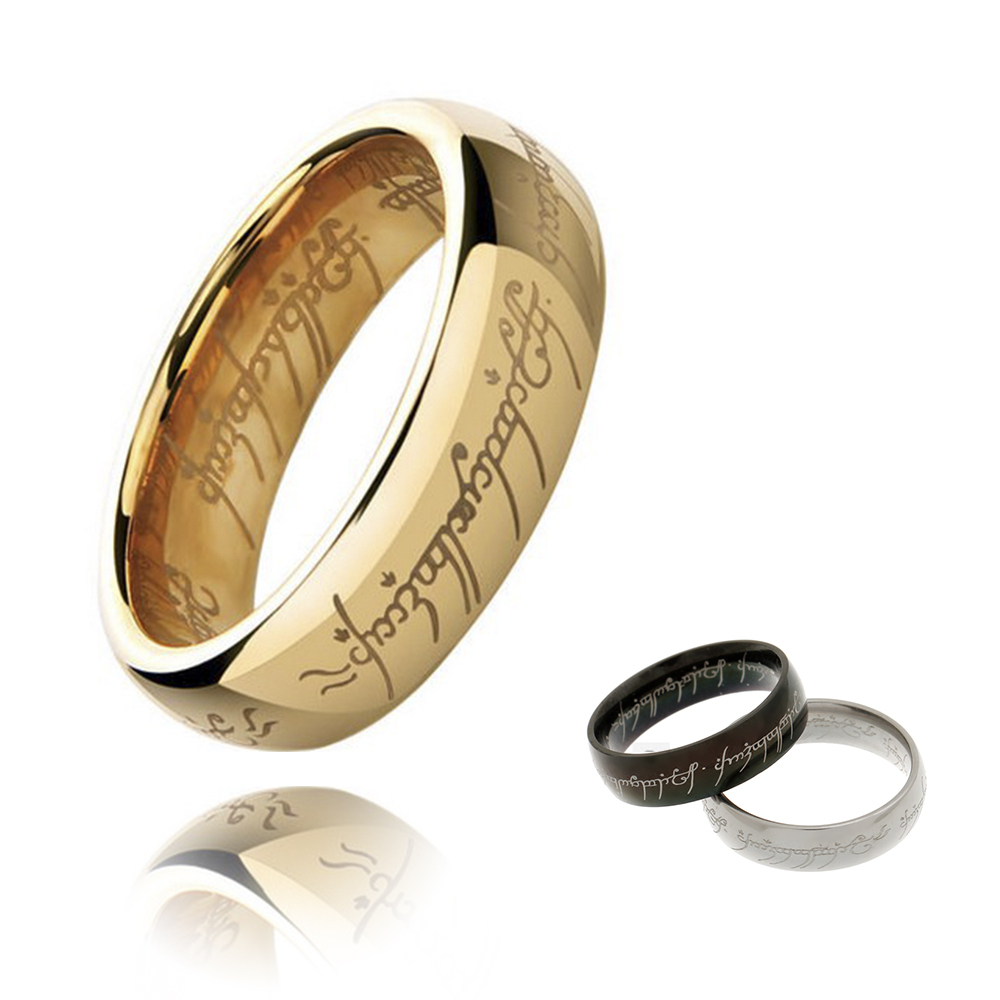 Hot-selling Hobbit Letters The l of Male Gift Titanium Stainless Steel Rings For Men Women Party Black Silver Gold Size 7-15(China (Mainland))