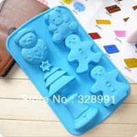 Factory Wholesale freeshipping silicon 6 hole Christmas Snowman, bells, Christmas trees, cake mold,