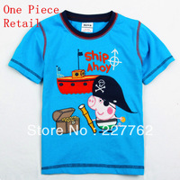 Free shipping brand kids peppa pig t-shirt nova kids wear boys baby shirts 100% cotton boys summer pirate george pig t shirt