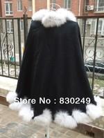 "60cm cashmere cape with 4"" twist  fox fur trim  with hood"