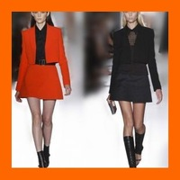 2013 fashion autumn victoria beckham dress candy color twinset slim blazer set dress