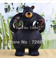 Rustic Style Creative Amiable and Cute Resin Bear Sculpture Wine Holder Decorative Barware Handicraft Embellishment Furnishing