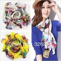 Wholesale New Arrival HOT Chiffon Scarf Women Floral Sunflower print Neck Kerchief Scarf Wrap Pashmina S size 160*70cm RJ1504