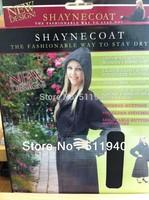 1 piece black color polyester women waterproof  rain coat