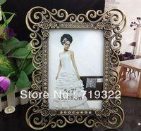"European restor zinc alloy bronze frames inlaid diamonds size 7"" wedding photo frame bridal gifts 7034#"