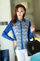 Korean Women autumn outfit new large size young ladies OL temperament long-sleeved body shirt lace blouse