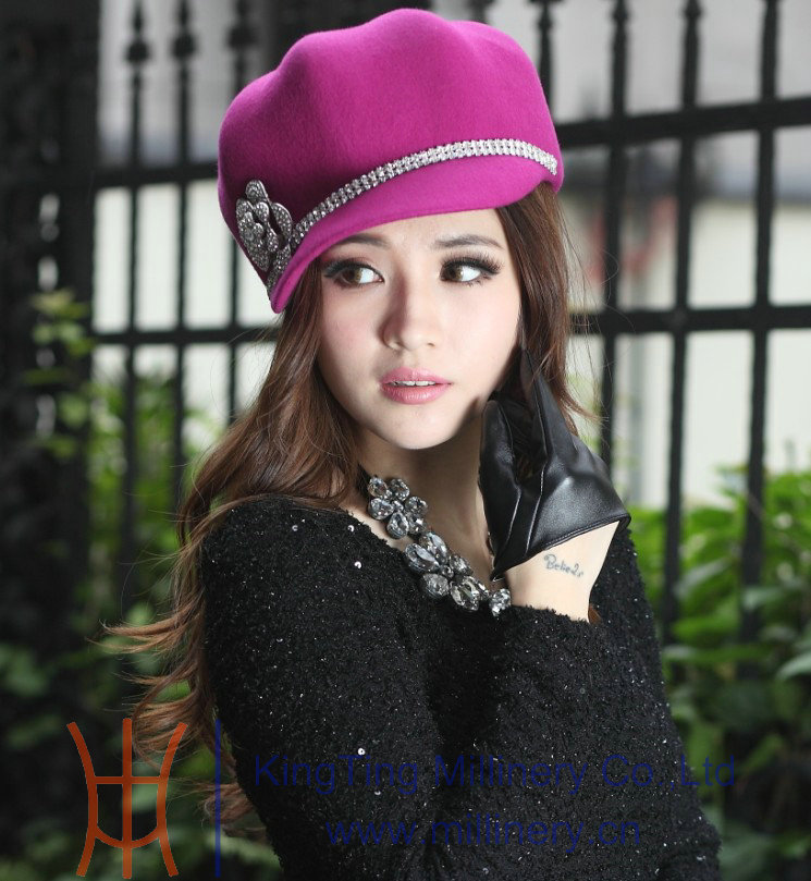 Free Shipping Women Hat Wool Felt Hat Winter Hat Warm Anti-Cold Women Felt Hats Top Good Quality Two Colors Available(China (Mainland))