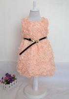 Kids Rose Flower Dress Girls Fashion Dress with Belt Children Clothing For Ball Girls' Dress for School Kids