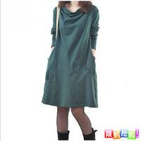 Autumn one-piece dress 2013 women's heap turtleneck plus size elegant slim long-sleeve dress mm