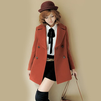 Women Winter Double-breasted Woolen Coat Jacket Women Coat Solid Color Slim Outwear Women Clothing