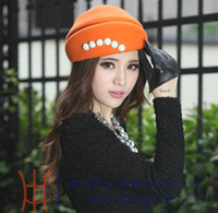 Free shipping new arrival elegant ladies wool felt hat winter hats natural 100% wool made two colors available