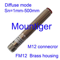 Photoelectric sensor Mountiger FM12 diffuse mode switching distance 1 mm to 500 mm adjustable PNP-Light NO and Dark ON connector