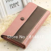 2013 Korean style fashion woman's three fold wallet by hit color and matte PU online drop shipping