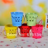 Wholesale 4x5.5cm Cut out Favor Boxes mini wedding tin candy buckets metal pail 50pcs/lot