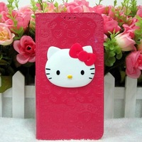 15pcs/lot! 2013 new, Luxury Cute 3D hello kitty PU leather Case flip wallet case cover for Samsung Galaxy Note 3 III, N9000