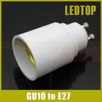 10pcs/lot Free Shipping GU10 to E27 White Bulb Converter holder LED Light Lamp Adapter Connector