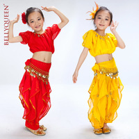 BELLYQUEEN~Performance Children Indian Dance Set,2PCS,3PCS,5PCS Choose,Belly Dance Full Costume For Girls,3Colors Available