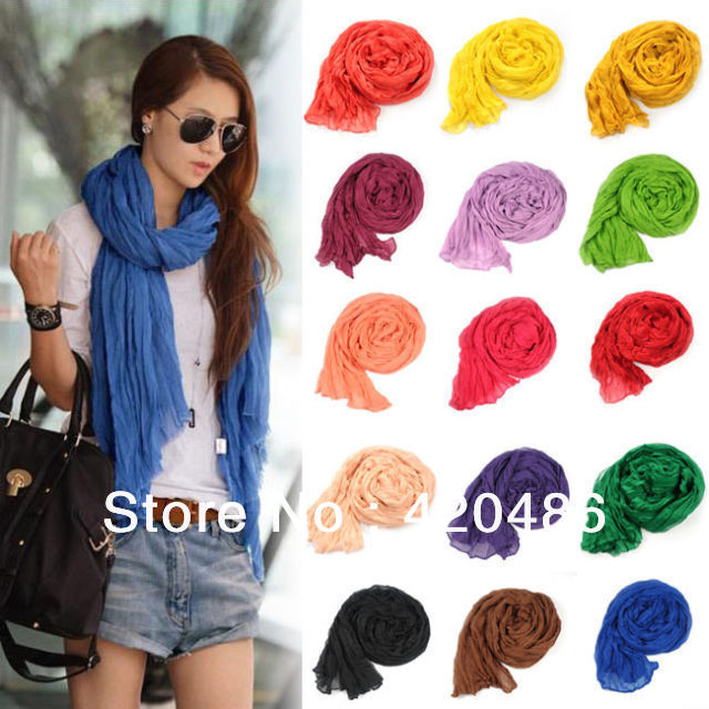 New Fashion 24colors Girl Women's Large Cotton Linen Long Crinkle Scarf Wraps Shawl Colorful Candy Colors Free Shippin(China (Mainland))