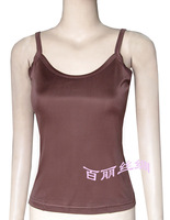 100% natural silk o-neck silk spaghetti strap coffee brown tanks Women's tops