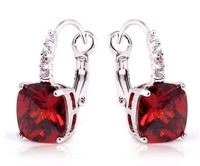 2015  Elegant Irregularity Cut Garnet & White Sapphire 925 Dangle Hook Silver Earring Fashion Jewelry Free Shipping Wholesale